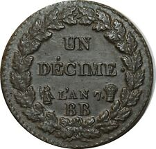 O1871 RARISSIME Un Décime Dupré an 7 BB Strasbourg coin choqué FDC !!!!!!!!
