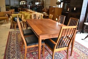 Mid Century LANE Dining Set, Table & 6 Black Upholstered Chairs