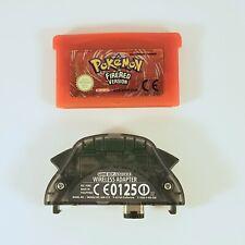 GENUINE Pokemon Fire Red  + Wireless Adapter Nintendo Gameboy Advance GBA Game
