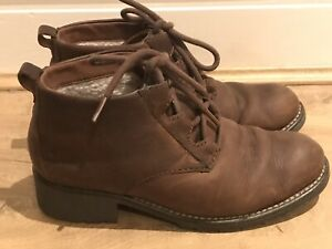 CLARKS Brown Lace Up Chunky Boots - Size 4