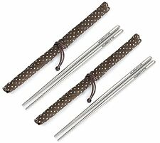 Square Titanium (Ti) Chopsticks - with Stylish Carrying Case ( 2 Pairs)