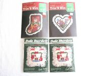 Vintage Lot of 4 Christmas Cross Stitch Kit Trim N Wire Dale Burdett Teddy Bears