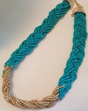 Turquoise Colored Braided Seed Beaded Choker Necklace 20 inches