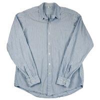 Steven Alan Striped Button Front Shirt Men's Size L Large Blue Cotton USA Made