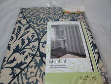 NEW M. Style Fabric Shower Curtain 70x72 ISTANBUL Floral ~ Grey, Tan, Black NIP
