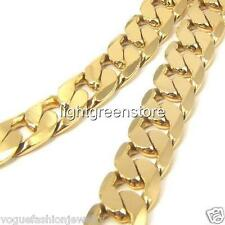 """18K Yellow Gold Filled Cuban Curb Link Chain Mens Necklace Jewelry 23.6"""" 12mm"""