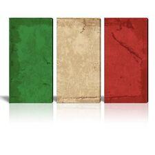 Canvas Prints Wall Art - 3 Panel Vintage Style Italian Flag - 24