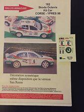 DECALS 1/43 SKODA OCTAVIA KIT CAR TRINER RALLYE YPRES 1998 RALLY WRC BELGIQUE