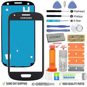 Samsung Galaxy S3 Mini Front Glass Lens Screen Replacement Kit Black + UV Glue