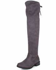 Forever Women's & Kids Jalen Faux Suede Drawstring Low Heel Over the Knee Boots