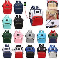 Mummy Maternity Baby Care Diaper Bag USB Larg Capacity Shoulder Backpack Handbag
