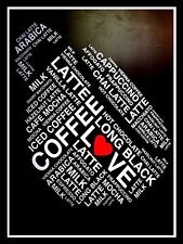 METAL VINTAGE SHABBY-CHIC TIN SIGN LOVE COFFEE LATTE LONG BLACK  WALL PLAQUE