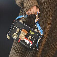 women fashion luxury vintage Scarf pu leather print messenger box handbag purse