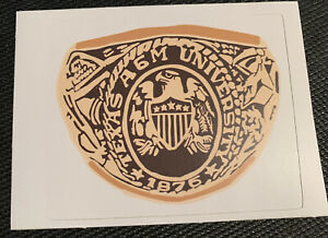 """Ring Day Texas A&M Aggies Sticker Class Ring Gold NCAA SEC 3.5"""" Wide"""
