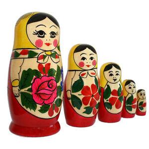 Russische Matroschka Babuschka Holzpuppe Russin gelbes Tuch 5 puppen 11 cm hoch