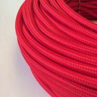 Textilkabel, Stoffkabel, Textilleitung,rund,rot 3x0,75mm² H03VV-F