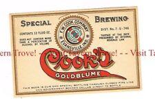 Unused 1930s U-Permit INDIANA Evansville COOK'S GOLDBLUME BEER 12oz Label