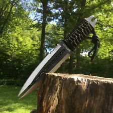"""8.5"""" Combat Hunting Fixed Blade Tactical Knife SERRATED Double Edge Dagger"""