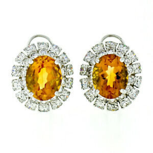 FINE 18K White Gold 7.80ct Oval Citrine & Brilliant Diamond Double Halo Earrings