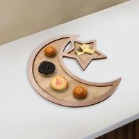 Wooden Eid Ramadan Moon & Star Dinner Plate-Applicable to Muslim Islam Eid K7Ug