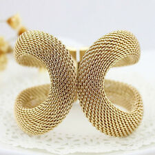 NE_ EG_ Women Cool Fashion Mesh Wide Alloy Spring Cuff Bracelet Jewelry Punk B