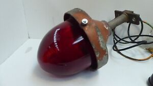 VINTAGE ART DECO RED GLASS DOME INDUSTRIAL FACTORY LIGHT BUNKER OUTDOOR SHADE