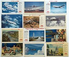 12 Dif. TWA Trans World AIRLINES Issued Postcards - 1940's - 1950's