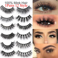 Thick Eye Lashes Extension Natural Long False Eyelashes 3D 100% Mink Hair
