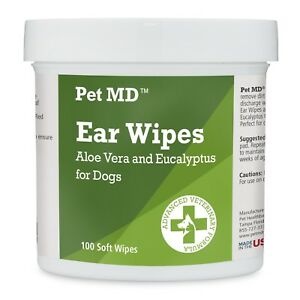 Dog Ear Cleaner Wipes Itching Yeast Mites Aloe Eucalyptus 100 Count Pet New