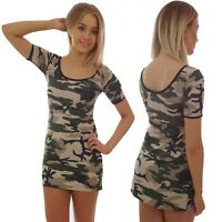 CAMOUFLAGE LONGER LENGTH SHORT SLEEVED T SHIRT DRESS TOP GOTH ALTERNATIVE