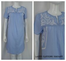 M&S Ladies Nightie Nightdress Blue Embroidered COTTON MIX Knee Length Size 10-22