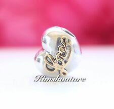 Authentic Pandora Heart of Love Sterling Silver with 14 k Gold Clip 791735