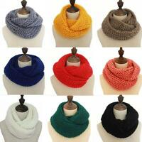 Soft Women Winter Warm Infinity Circle Cable Knit Cowl Neck Long Scarf Shawl