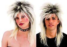 Unisex 80s Rocker con Rubio Glam Rock Star Peluca raíces años 80 Mullet Vestido de fantasía