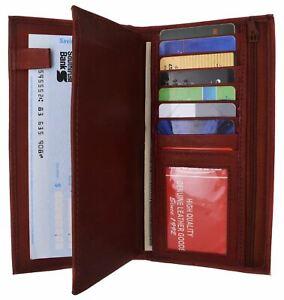 Burgundy Genuine Leather Checkbook Cover Wallet Organizer W/ Credit Card Holder