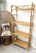 Vintage 1970s Mid Century Boho 4 Tier Bamboo Tall Bookcase Shelving Unit Tiki