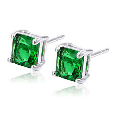 Vintage Stud Earrings Fashion Jewelry Green Square Cubic Zirconia Small Cute