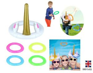 Inflatable Unicorn Horn and Hoop Game Hoopla Toy Set Kids Fun Activity X99428 UK