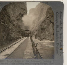 Royal Gorge of the Arkansas Train Hanging Bridge CO Keystone Stereoview c1920