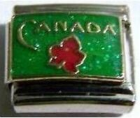 Canada red leaf on sparkly green enamel 9mm stainless steel italian charm link