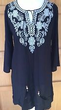 BNWT YUMI 12 M black longline tunic white embroidered yoke long sleeve tie neck