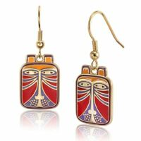 Toshio Cat Laurel Burch Drop Dangling Earrings Red Gold