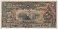 Guatemala Banco De Occidente  5 Pesos 1919 PS176 Rare Quetzal Bird VG+ Rare