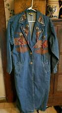 Vintage Blue Jean Denim Long Duster Coat Jacket - Southwestern Native American
