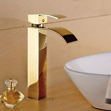 Gold Brass Single Handle Bathroom Vessel Sink Faucet Waterfall Tall Mixer Taps