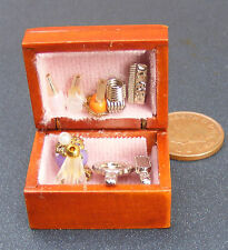 Vanity Set Fixed In A Wooden Box Dolls House Miniature Bedroom Accessory