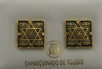 Damascene Gold Star of David Design Square Stud Earrings Midas of Toledo Spain