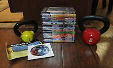 LOT OF (13) KETTLEWORX DVD'S WITH  10 LB & 5LB KETTLEBELLS – NEW!