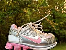NIKE SHOX Silver Bullet Hot Pink Logo Athletic Leather Girls Shoes Sz Toddlers 7