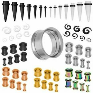 Tunnel Set Double Flared Expander Stud Silver Black Rose Gold
